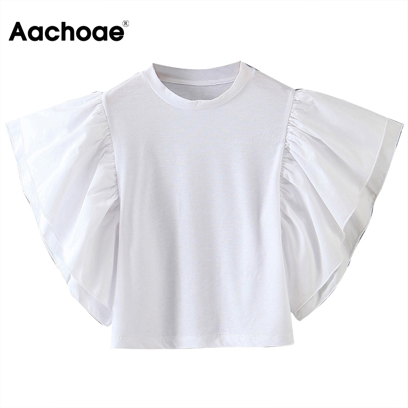 Aachoae Women White Blouse Shirts Ladies Stylish Ruffles Shirt Tunic O Neck Solid Casual Tops Blouses Blusas Mujer De Moda 2020