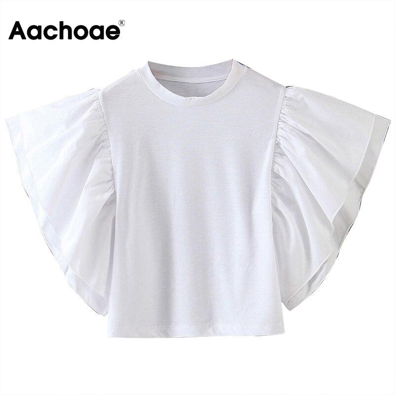 Fashion Women White Blouse Shirts Ladies Stylish Ruffles Shirt Tunic O Neck Solid Casual Tops Blouses Blusas Mujer De Moda 2020