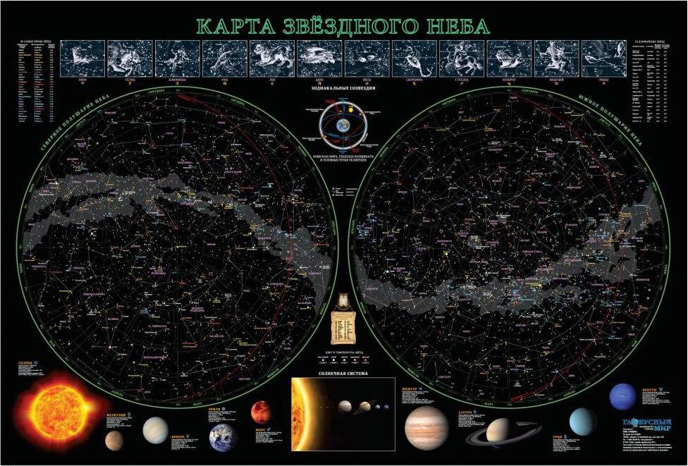 Star Map, 68x102 Cm (laminated)