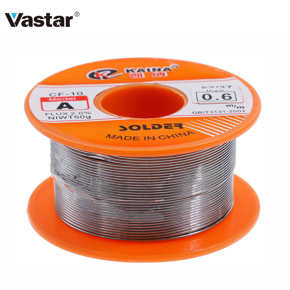 Vastar 0.6/0.8/1/1.2/1.5MM 63/37 FLUX 2.0% 45FT Tin Lead Tin Wire Melt Rosin Core Solder Soldering Wire Roll