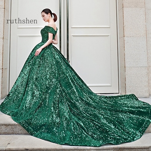 Image 5 - Gorgeous Sequin Evening Dress Long Off The Shoulder Emerald Green Women Formal Pageant Prom Gowns