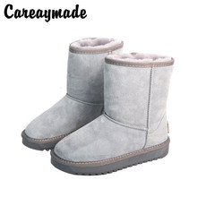 Careaymade-New snow boots female cotton Top layer Genuine leather retro snow high boots female thick warmboots ,4 colors цены онлайн