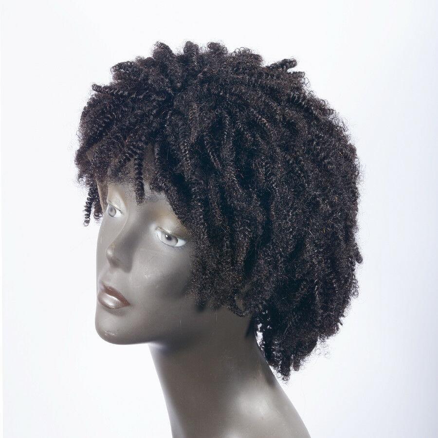 IVogue афро кудрявый полный парик шнурка короткий боб парик с челкой монгольские Remy человеческие волосы парик с детскими волосами натуральный... - 3