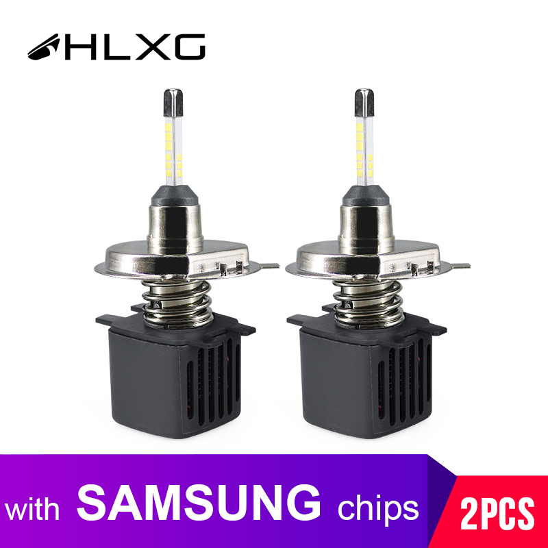 HLXG With SAMSUNG Chip Lamp H4 Led Motorcycle 4 Sides High Low Beam Dual Diodes Bulb