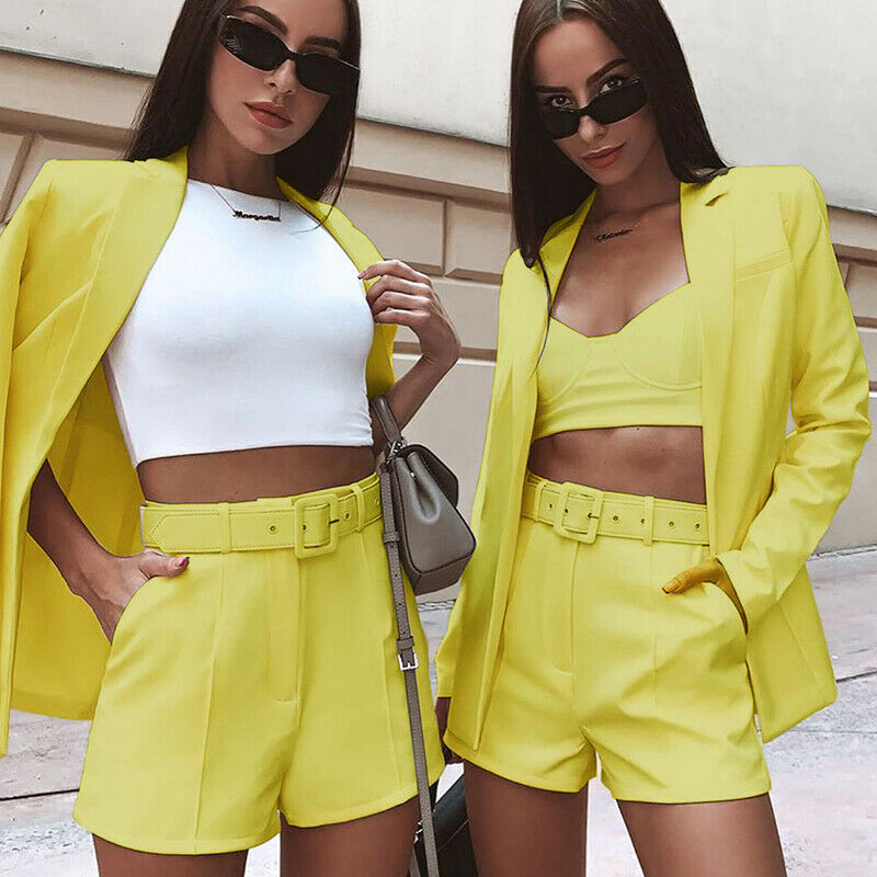 Women Ladies Suit Coat Business Blazer Pullover Top Jacket Short Pants Casual Long Sleeve Outwears Office Lady's Blazers Hot