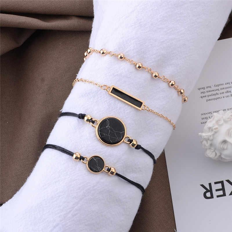 Wukalo 4 шт./компл. Мода розовое золото Цвет цепи черный камень браслет из бисера для Для мужчин ювелирные изделия подарок Классический Pulsera Hombre