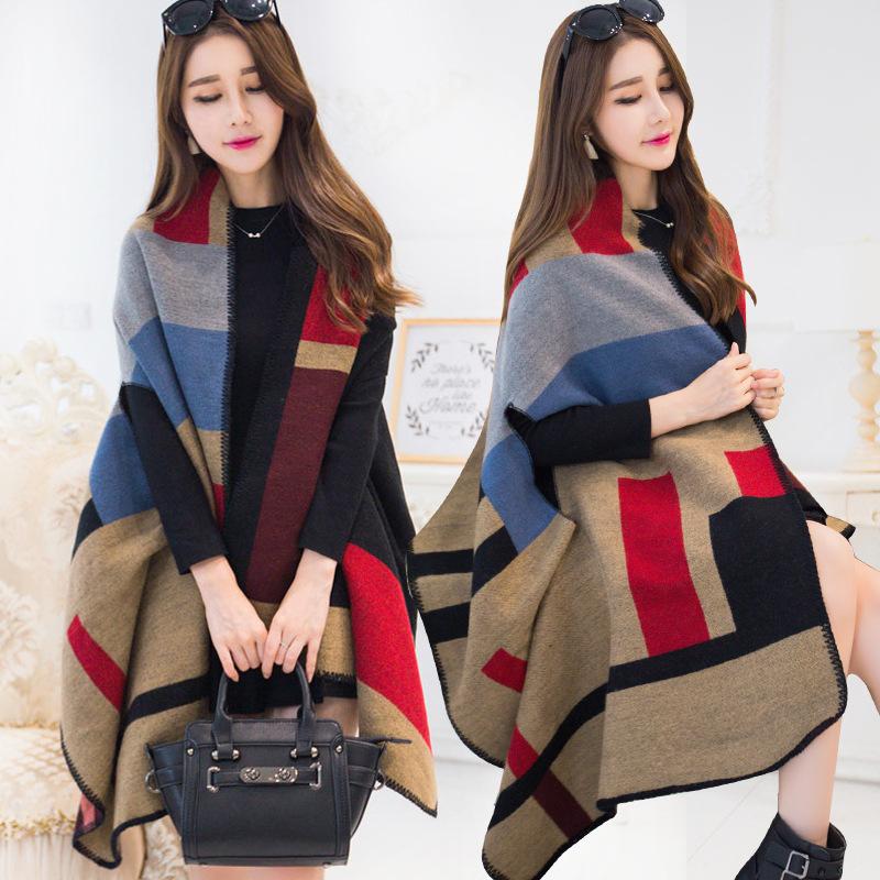 Luxury Brand Cashmere Shawl Winter Poncho Plaid Design Thick Warm Female Cape Geometric Patterns Lady Scarf Ponchos And Capes