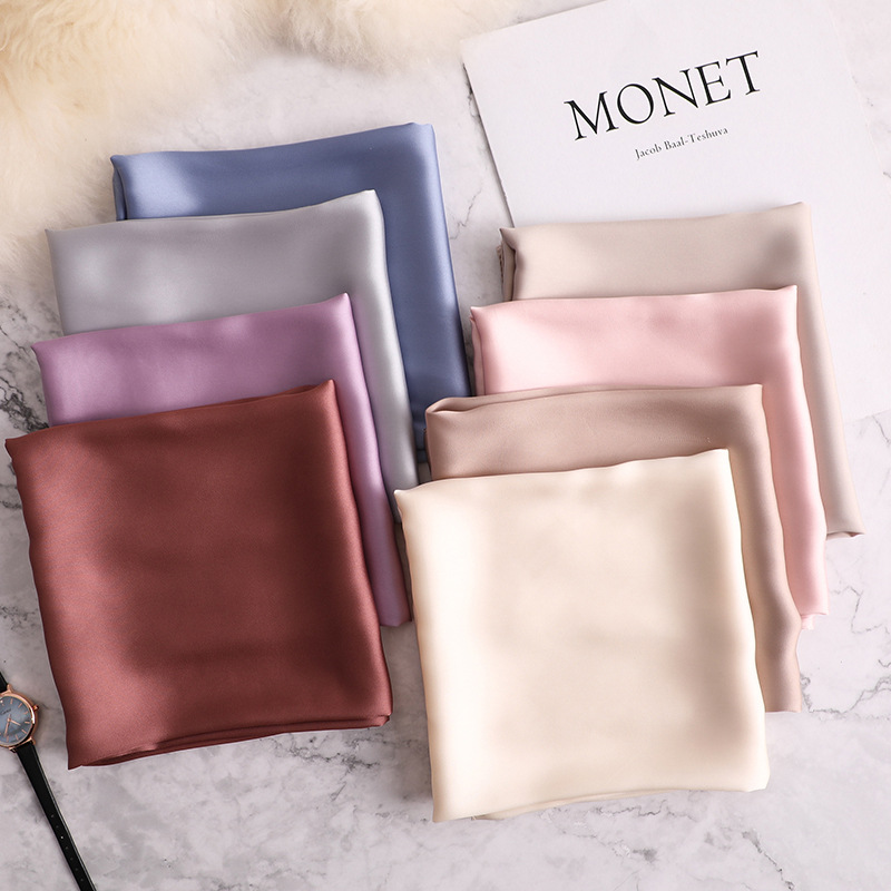 2021 new Spring summer women silk scarf square solid color shawl and wrap lady hair neck scarves  soft office bandana foulard
