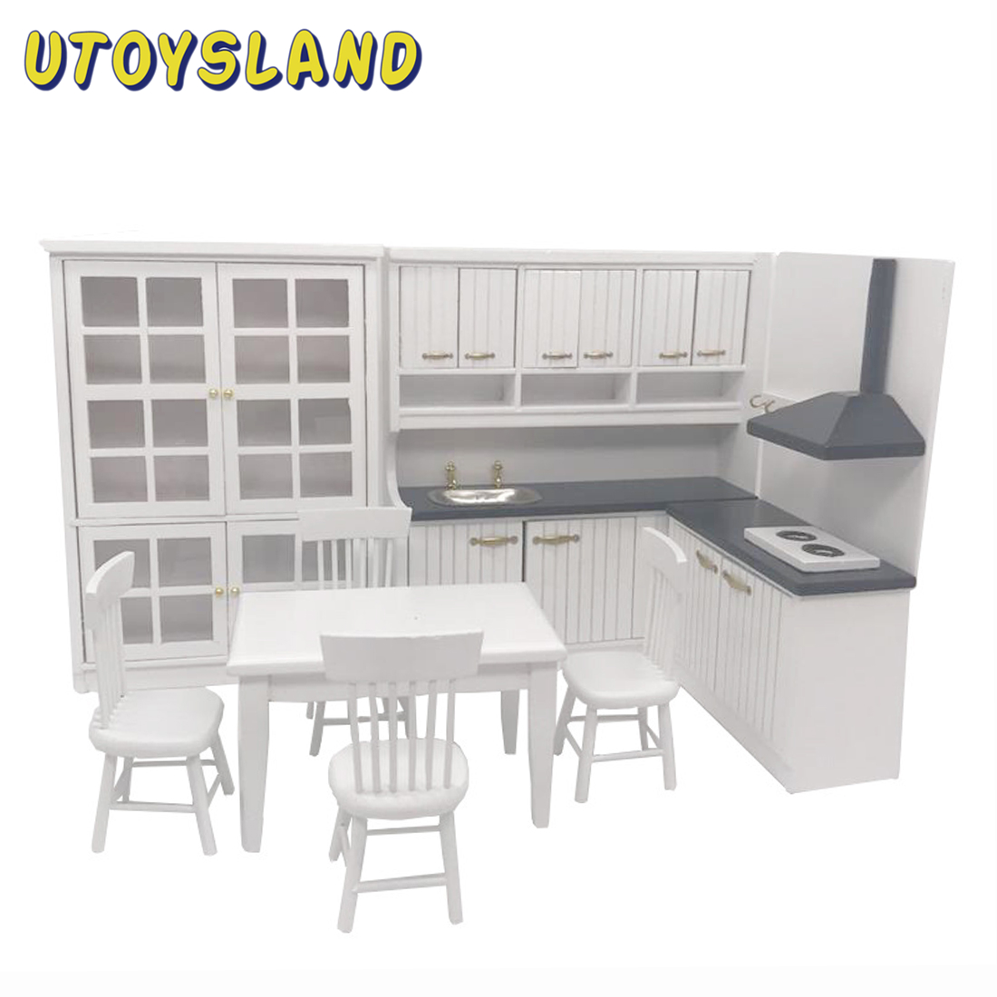 Doll House 1/12 Scale Furniture Diy Miniature Dollhouse Kitchen Furniture Model Kit Dollhouse Toys For Children Birthday Gifts
