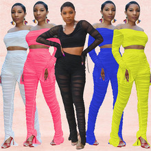 Adogirl Autumn Sheer Mesh Two Pieces Set Long Sleeve Backless Crop Top + Pants Bandage Party Night Clubwear Tracksuit