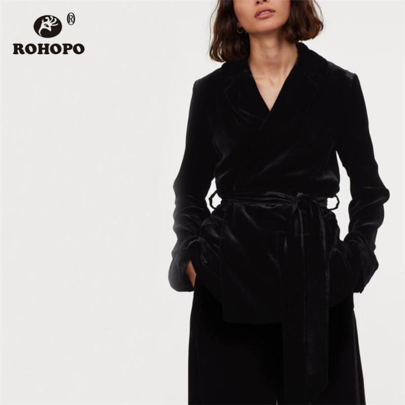 ROHOPO Lapel V Collar Belted Slim Green Black Velvet Blazer Solid Autumn Waistband Tunic Party Ladies Outwear #27377