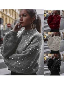 Knitting Sweater Blouse Pullover Turtleneck Pearl Long-Sleeve Sexy Thick Autumn Winter