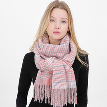 SH006 New Women Tassel Plaid Cashmere Scarf Ladies Winter Thick Warm Soft Pashmina Shawls Wraps Female Knitted Wool Long Scarf