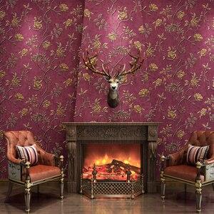 Image 4 - ירוק טורקיז פרחוני מובלט טפט לחדר שינה סלון קירות Romatic אדום פרח קיר נייר בית תפאורה בז