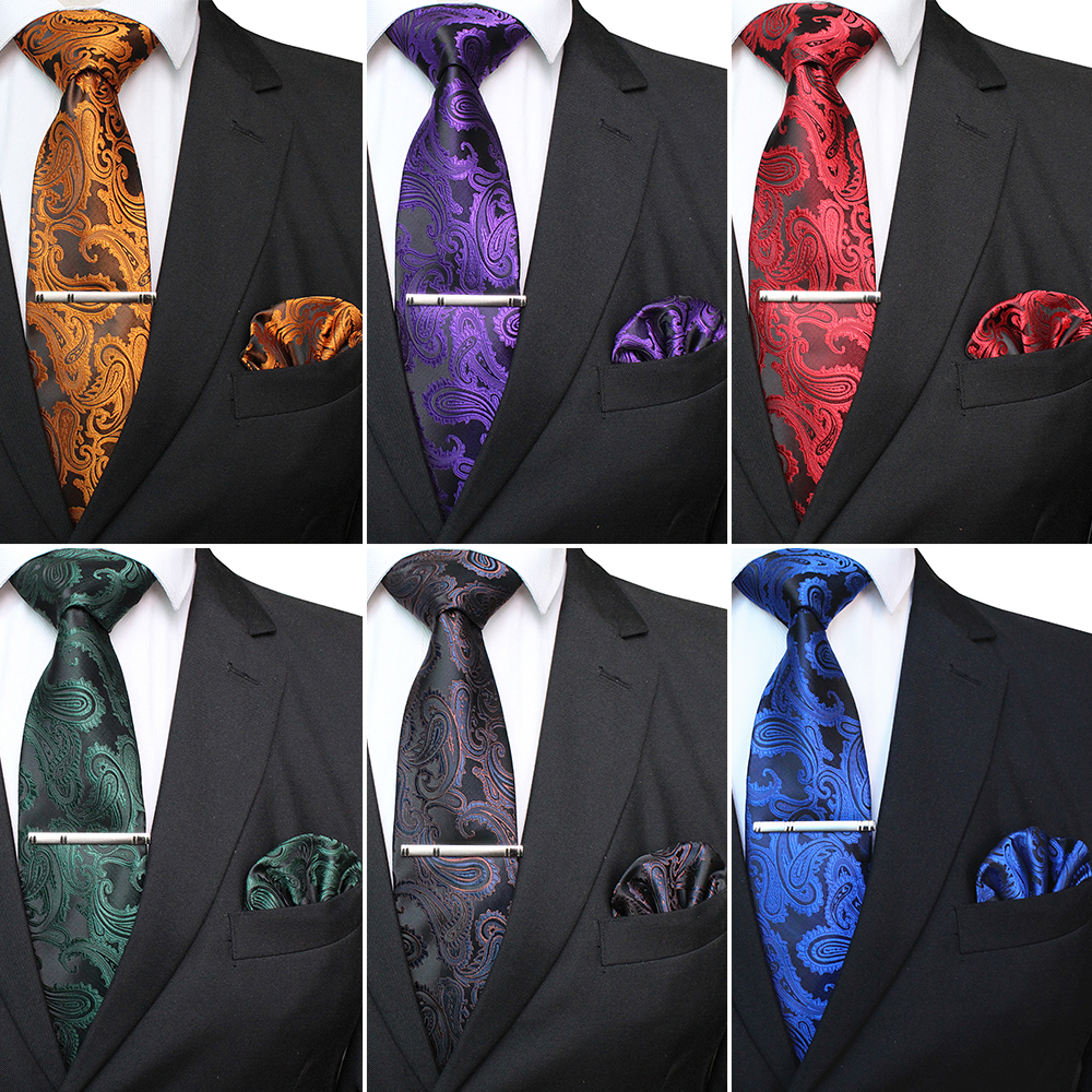 KAMBERFT Mens Classic Paisley Tie And Pocket Square Set Red Green Silk Jacquard Necktie With Tie Clip Sets Wedding Party Tie