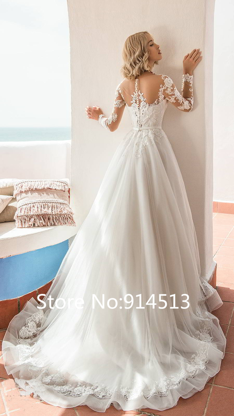 Image 2 - Glamorous Tulle Jewel Neckline Ball Gown Wedding Dresses With Lace Appliques Belt Long Sleeve Wedding Gowns Vestido de Noiva-in Wedding Dresses from Weddings & Events