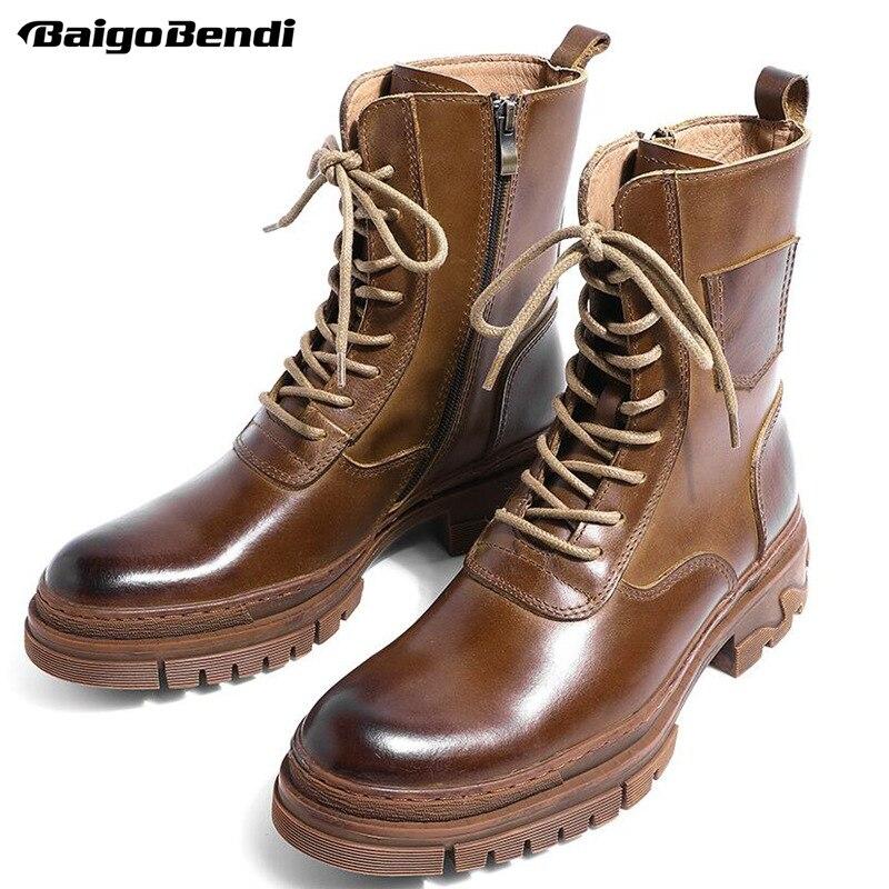 5CM Heels Mid calf Motorcycle Boots