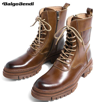us size classical retro mens boots genuine leather lace up ankle boots zip work safety boots man winter shoes 5CM Heels Mid-calf Motorcycle Boots Mens Genuine Leather Lace Up Work Boots Winter Chelsea Boots Soliders Shoes