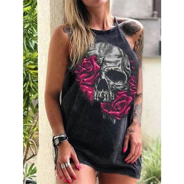 Summer Dresses Women Punk Style Loose Halter Neck Sleeveless Skull Print Female Shirt Dress Street Side High Split Flower Print 6