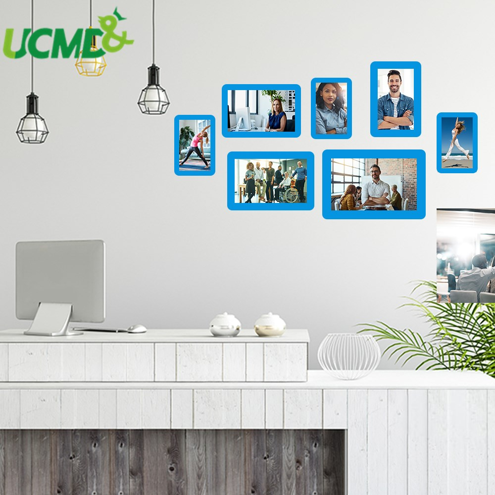 7pcs Magnetic Photo Frame Hold Magnets Whiteboard Stickers Files Memo Name Card  Holder Picture Frame DIY Family Picture Frame