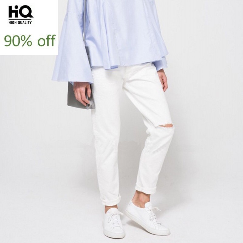 Top Quality Women Hole Ripped Straight Denim Pants High Waist Ankle Length Boy Friend Style Female Fashion Casual Jeans Trousers