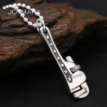 925 Sterling Silver Monkey Spanner Pendant For Men Retro Thai Silver Wrench Tool Personalized Pendant Father's Day Gift TSP263 s990 sterling silver fashion jewelry personalized men s retro thai silver spike mosaic agate turquoise pendant
