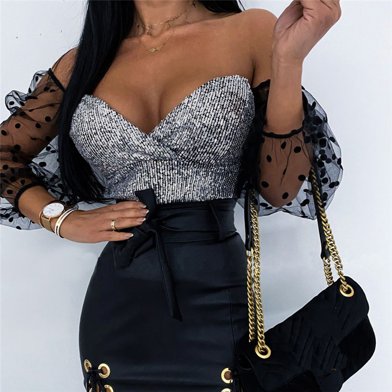 Sexy Women Off Shoulder Sequins Blouse Fashion Autumn Spring Glitter Mesh Shirt Top Puff Sleeve Plunge V Dots See Through Blusas