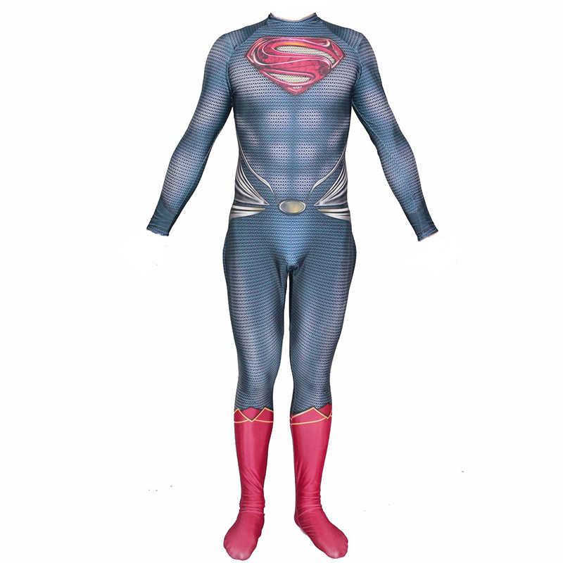 العدالة الدوري حلقة سوبرمان كلارك كينت تأثيري زي 3D ليكرا Zentai خارقة سوبر مان ارتداءها دعوى حللا الرجال الاطفال