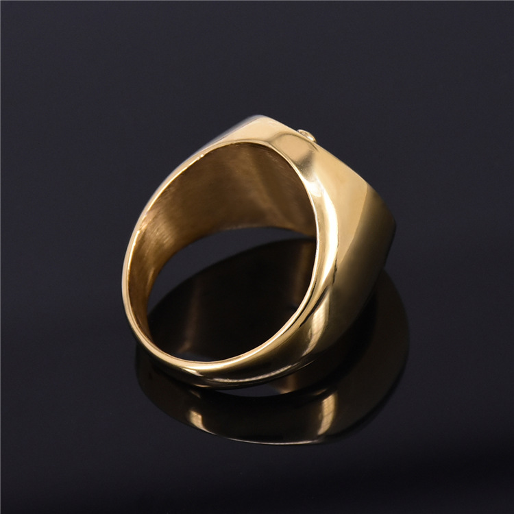 Luxury freemasonry AG finger ring jewel titanium steel fashion jewelry rings gold color plated ring for men free shipping in Rings from Jewelry Accessories