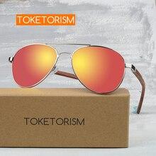Toketorism oversized pilot polarized glasses for men wooden sunglasses women fashion 5071