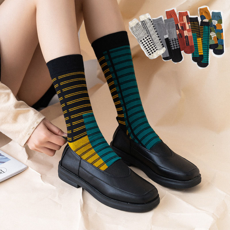 Ins Trend Long Socks Women Autumn Skateboard Girls Athletic Socks New Trend  Patchwork Abstract Print Casual Couple Socks Cotton|Socks| - AliExpress