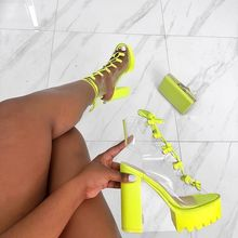Woman Boots Candy Color Transparent PVC Coarse Boots Stripper Shoes Clear Stilet