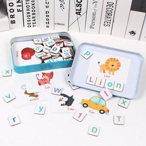 Image 3 - 60 desen hayvanlar büyü alfabe bulmacalar manyetik yapboz öğrenme ingilizce oyuncak ahşap çocuk bulmaca oyuncak seti çocuk eğitim oyuncak