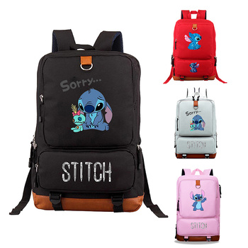 Mochila Anime Stitch Schoolbag Leather Backpack Men Luxury Laptop Pink Women Travel Book Bag Sac A Dos  Zipper Backbag