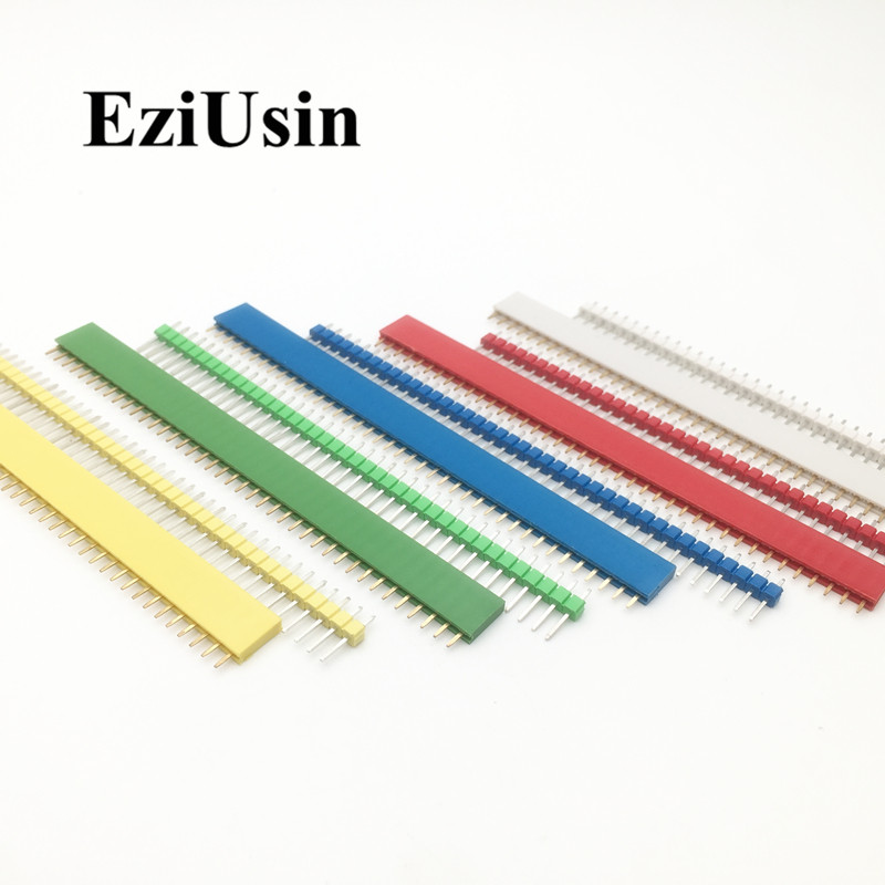10pcs 5 Pairs 40 Pin 1x40 Single Row Male Female 2.54 Red Yellow Blue White Green Pin Header PCB JST Connector Strip For Arduino