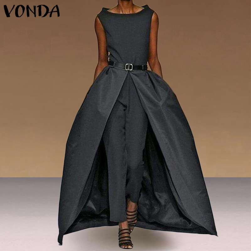 Women Jumpsuits Sexy Sleevelesss Playsuits Vintage Rompers Office Ladies Overalls Long Pants VONDA Female Trousers Pus Size