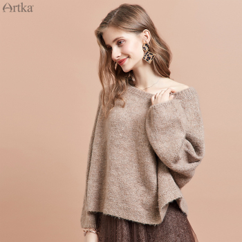 ARTKA 2019 Autumn Winter New Women Sweater Fashion Sequin Design Knitted Sweaters O-Neck Pullover Loose Sweater Women YB10994Q юбка artka qb17249d