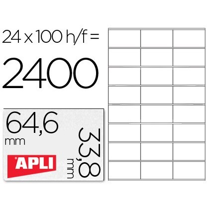 ADHESIVE LABEL APLI 1263 SIZE 64,6X33,8 MM LASER COPIER INK-JET BOX WITH 100 SHEETS DIN A4
