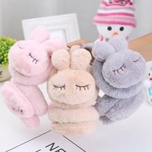 Новые милые зимние теплые наушники для девочек и мальчиков, плюшевые теплые шапки с заячьими ушками, Детские милые зимние наушники, теплые наушники с ушками