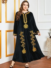 Siskakia Velvet Dress for Women Winter 2020 Black Ethnic Embroidery Long Sleeve Arabic Turkey Muslim Clothes Loose Plus Size New