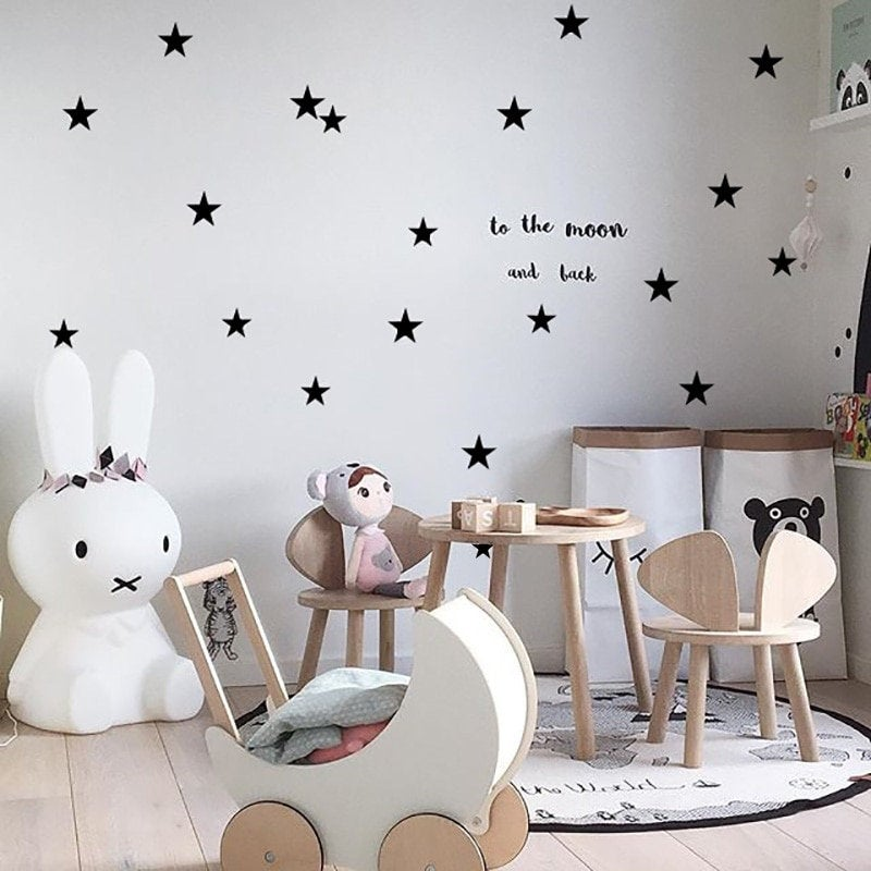 5 Point Stars Wall Stickers For Girl Baby Nursery Bedroom Kids Room Home Decoration Children Wall Decals Art Kids DIY Sticker
