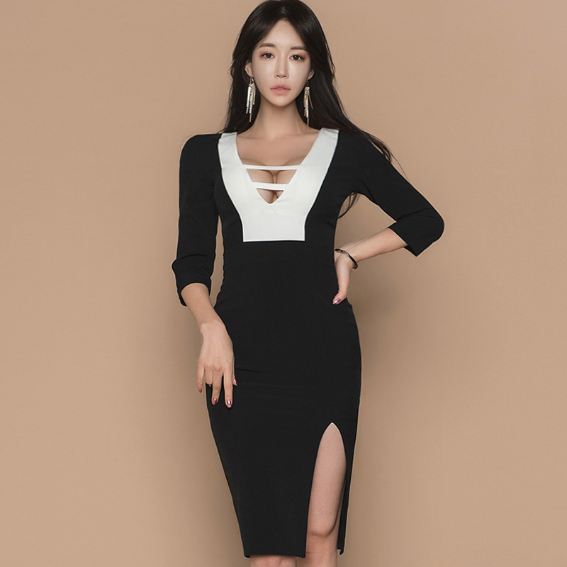 Sexy White And Black Cocktail Dresses Knee Length Deep V Neck 3/4 Sleeve Straight Ladies Evening Party Gown Vestido Coktail 2020