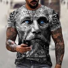 Vintage Warrior Avatar Print Oversize Men T-shirt Short Sleeve O-Neck Fashion Streetwear Men T Shirt 2021 New Summer Casual Tops