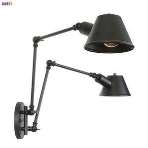 IWHD antyczne rustykalny, w stylu Vintage kinkiet sypialnia schody lampy obok 2 głowice w stylu Loft przemysłowe oprawy ścienne aplikacja Luz Pared