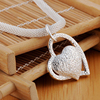 DOTEFFIL 925 Sterling Silver 18 Inch Double Heart Pendant AAA Zircon Necklace For Women Fashion Wedding Charm Jewelry 5