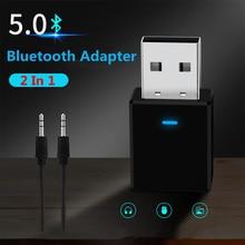 VIKEFON odbiornik Bluetooth nadajnik Bluetooth 5.0 klucz AUX RCA USB 3.5mm Jack Audio bezprzewodowy Adapter do TV PC zestaw samochodowy