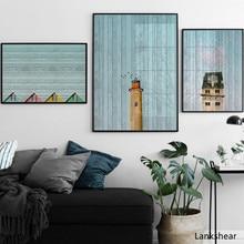 Vintage textura de madera con caballo paisaje lámpara stand lienzo pintura arte de pared carteles y Pints cuadros de pared para sala de estar