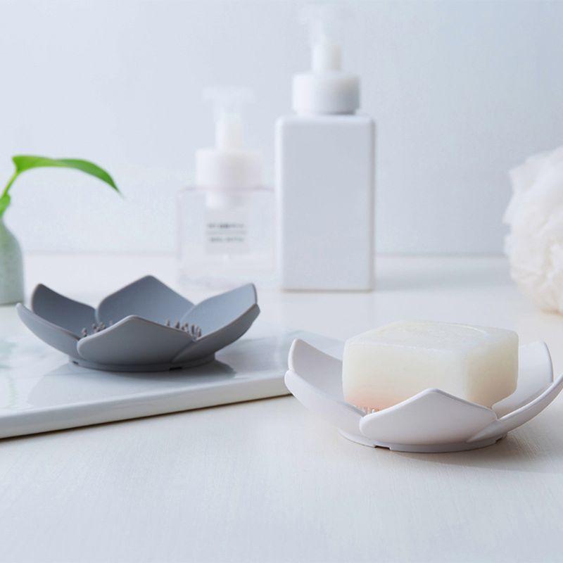 Flexible Silicone Bathroom Shower Soap Box Dish Storage Plate Tray Drain Holder Flower Soapbox