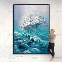 New Arrival Hand painted canvas Wall Painting waves sea ocean stock wall art Abstract pictures for living room Home Wall Artwork