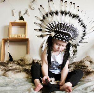 42x45cm nowy indyjski wódz ozdoba na głowę z piór fotografia dziecięca rekwizyty kapelusz korona ozdobna na głowę strona dekoracji